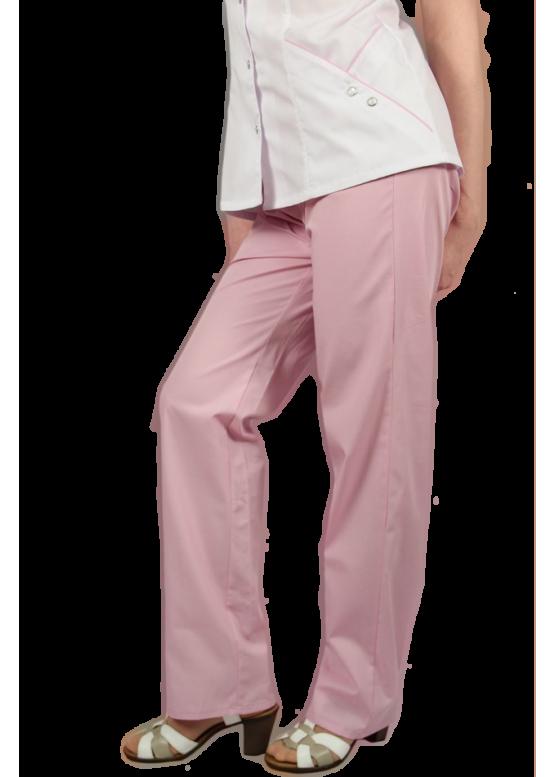 Женские медицинские брюки розового цвета на эластичном поясе.