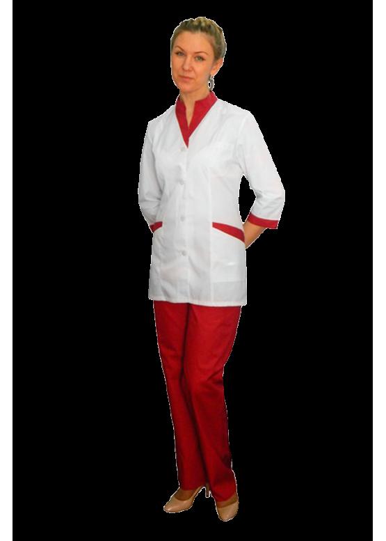 Медицинский костюм К-320 с белой блузой и цветной отделкой