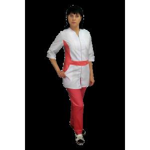 Медицинский костюм с персиковой отделкой К-772-персик