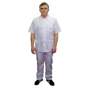 Мужской медицинский костюм белый с отделкой по контуру К-302-ОТД