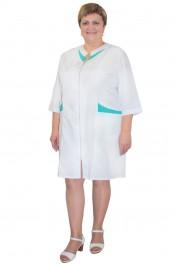Медицинский халат Х-127-З (с бирюзовой отделкой)
